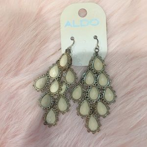 NEW ALDO GOLD AND CREAM DROP DOWN EARRINGS